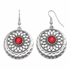 Red Medallion Hammered Disc Drop Earrings