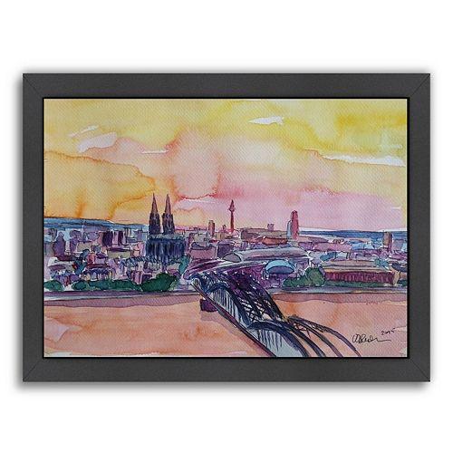 Americanflat Cologne Deutz Bridge Sunset 2 Framed Wall Art