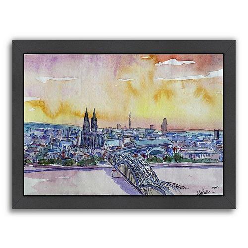 Americanflat Cologne Deutz Bridge Sunset Framed Wall Art