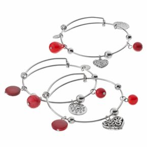 Red Bead & Heart Charm Bangle Bracelet Set