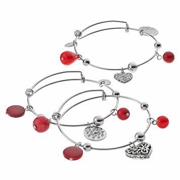 Red Bead & Heart Charm Bangle Bracelet Set