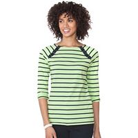 Women's Chaps Lace-Up Boatneck Tee