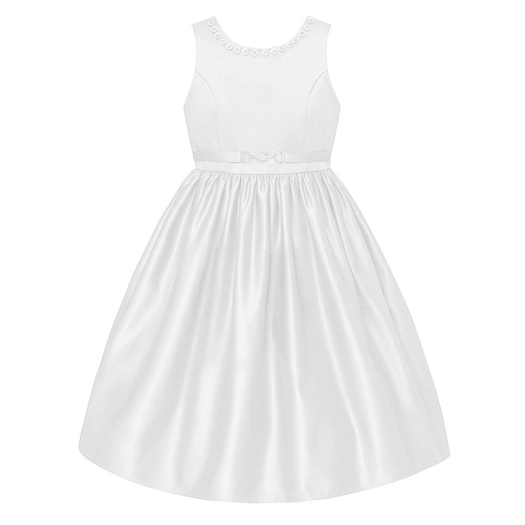Girls 7-12 American Princess Sleeveless Rhinestone Buckle Dress
