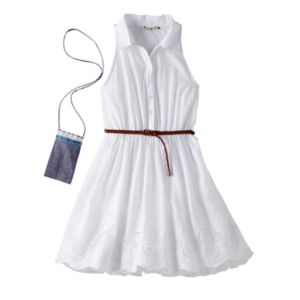 Girls 7-16 Knitworks White Braid Belt Lace Shirt Dress with Crossbody Purse