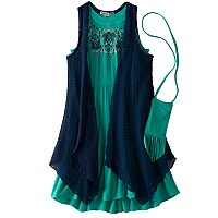 Girls 7-16 Knitworks Open Knit Vest & Embroidered Gauze Dress Set with Crossbody Purse