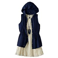 Girls 7-16 Knitworks Hooded Vest & Lace Dress Set with Necklace