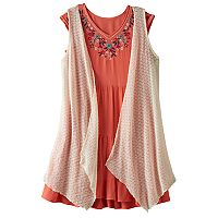Girls 7-16 Knitworks Open Knit Vest & Embroidered Gauze Dress Set with Necklace