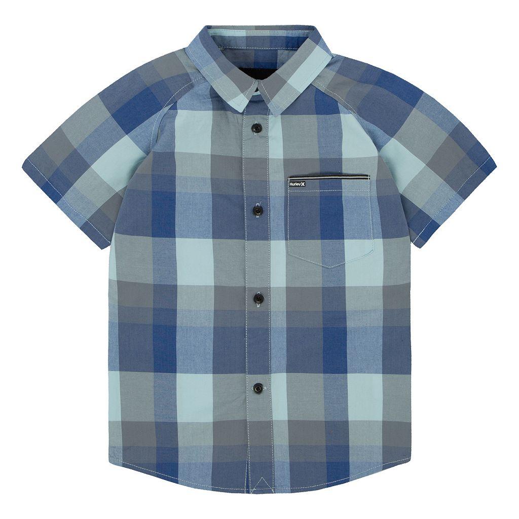 Boys 4-7 Hurley Raglan Short Sleeve Woven Plaid Shirt