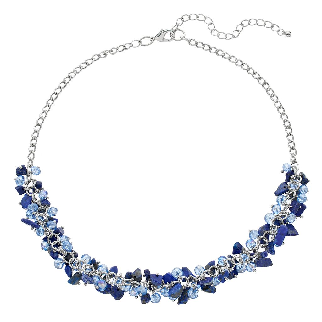 Blue Shaky Bead Cluster Necklace