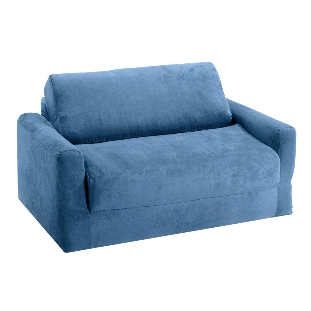 Fun Furnishings Blue Microsuede Sleeper Sofa - Kids