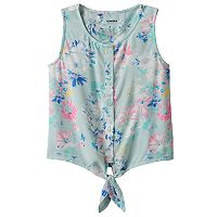 Girls 4-12 SONOMA Goods for Life™ Print Tie-Front Top