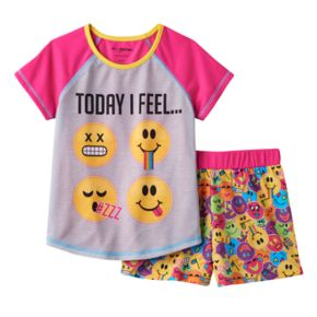 "Girls 4-12 Emoji ""Today I Feel"" Pajama Set"