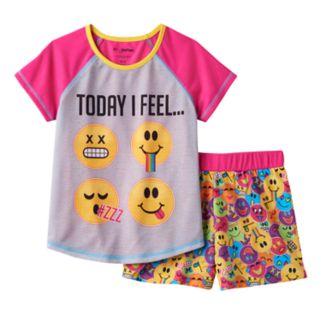"Girls 4-12 Emoji ""Today I Feel"" Pajama Set"
