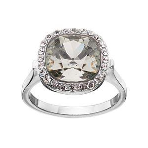 Brilliance Black Crystal Halo Ring with Swarovski Crystals