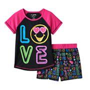 Girls 4-12 Emoji 'Love' Pajama Set