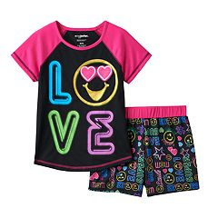 Girls 4-12 Emoji 'Love' Pajama Set