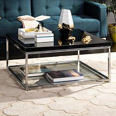 Safavieh Chrome Finish Glass Coffee Table
