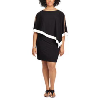 Plus Size Chaps Colorblock Shawl-Overlay Dress