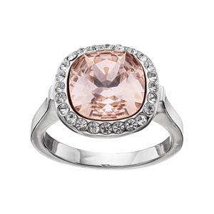 Brilliance Pink Crystal Halo Ring with Swarovski Crystals