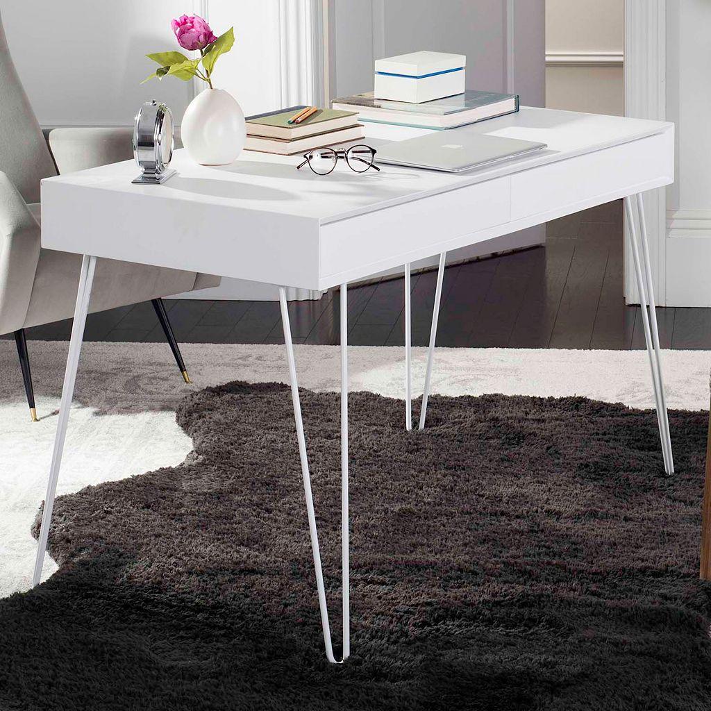 Safavieh Retro White 2-Drawer Desk