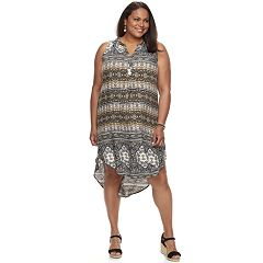 Plus Size World Unity Printed High-Low Dress