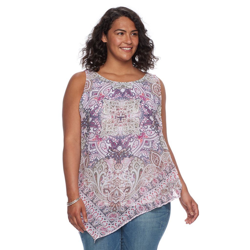 Plus Size World Unity Printed Handkerchief Tank