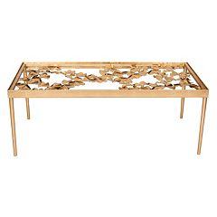 Safavieh Gold Finish Ginkgo Leaf Coffee Table