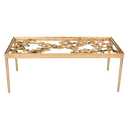 Safavieh Gold Finish Ginkgo Leaf Coffee Table