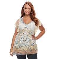 Plus Size World Unity Asymmetrical Hem Crochet Trim Top