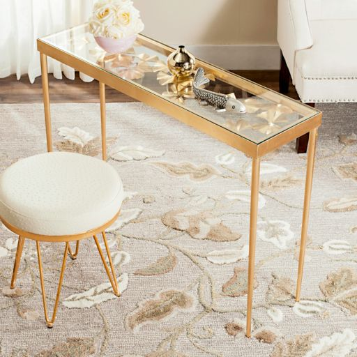 Safavieh Gold Finish Ginkgo Leaf Console Table