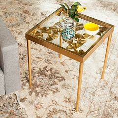 Safavieh Gold Finish Ginkgo Leaf End Table
