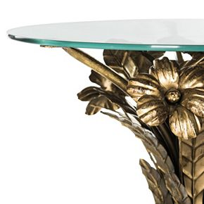 Safavieh Gold Finish Bouquet End Table