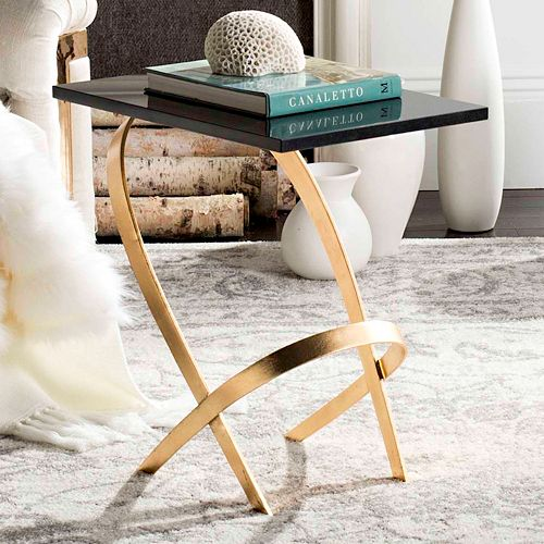 Safavieh Contemporary Gold Leaf Finish End Table