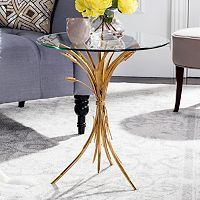 Safavieh Gold Leaf Finish Round End Table