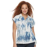 Plus Size Rock & Republic® Studded Tie-Dye Shirt