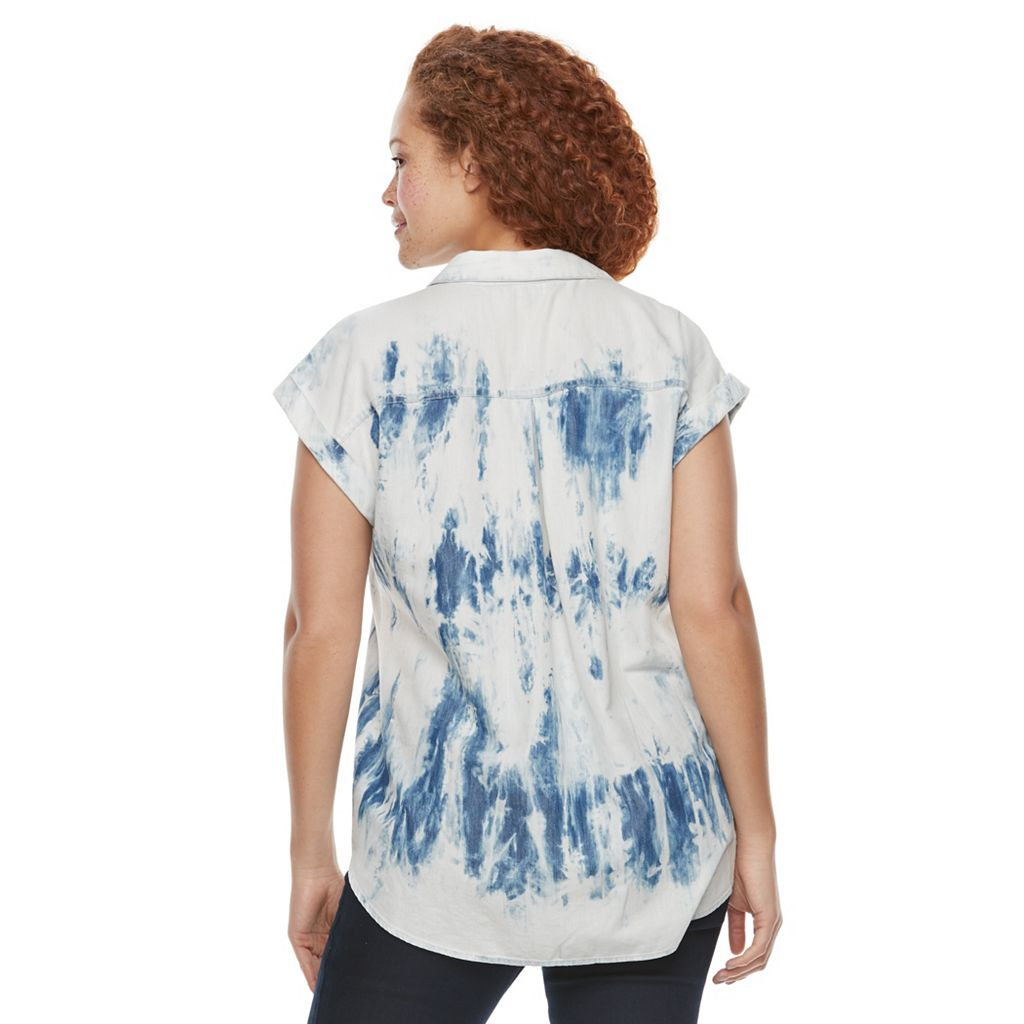 Plus Size Rock & Republic® Studded Tie-Dye Shirt
