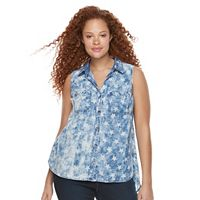 Plus Size Rock & Republic® Sleeveless Button Down Denim Top