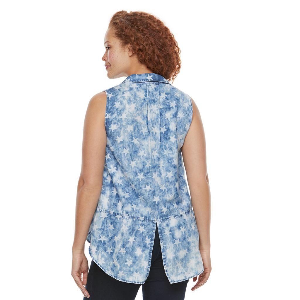 Plus Size Rock & Republic® Sleeveless Button Down Denim Top