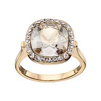 Brilliance 14k Gold-Plated Gray Crystal Ring with Swarovski Crystals