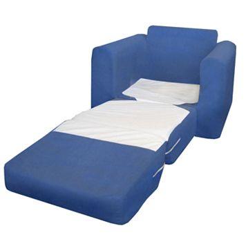 Fun Furnishings Blue Microsuede Sleeper Chair - Kids