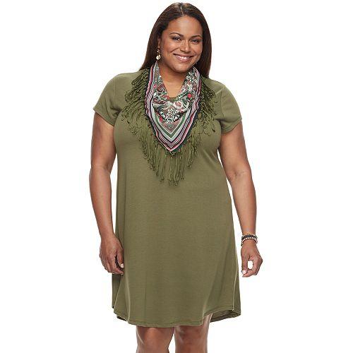 Plus Size World Unity T-Shirt Dress & Scarf Set