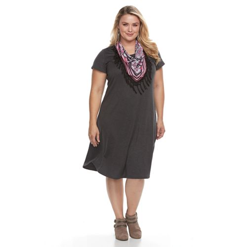 Plus Size World Unity T-Shirt Dress & Scarf Set