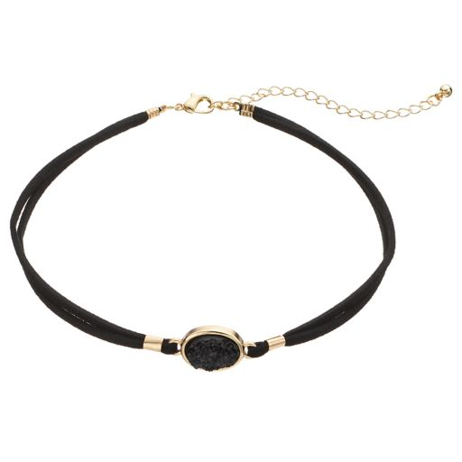 Black Simulated Drusy Double Strand Cord Choker Necklace