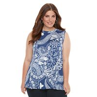 Plus Size AB Studio Paisley Graphic Tank