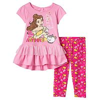 Disney's Beauty & the Beast Girls 4-6x Belle Ruffle Top & Floral Leggings Set