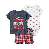 Baby Boy Carter's Print Bodysuit, Graphic Tee & Plaid Shorts Set