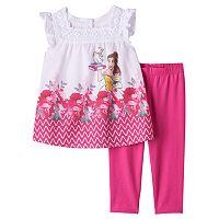 Disney's Beauty & The Beast Belle, Mrs. Potts & Chip Girls 4-6x Blouse & Capri Leggings Set