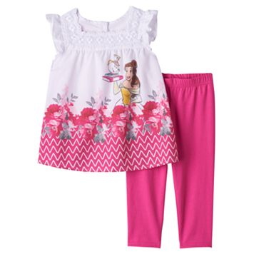 Disney's Beauty & The Beast Belle, Mrs. Potts & Chip Girls 4-6x Blouse & Capri Leggings Set