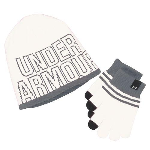 03b227ce182 Girls 4-16 Under Armour Logo Knit Hat   Gloves Set