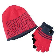 Girls 4-16 Under Armour Logo Knit Hat & Gloves Set